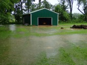 Even the barn is flooded.