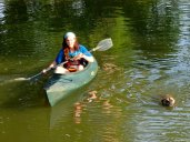 Jay and Chili kayaking.
